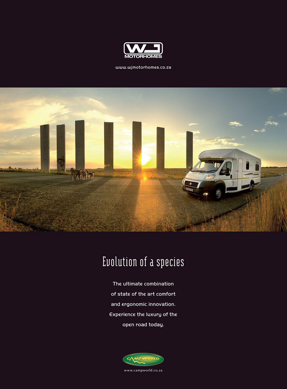 print advertisements on  full page print ad for wj motorhomes responsible for client service concept art direction copywriting photography photo manipulation and print