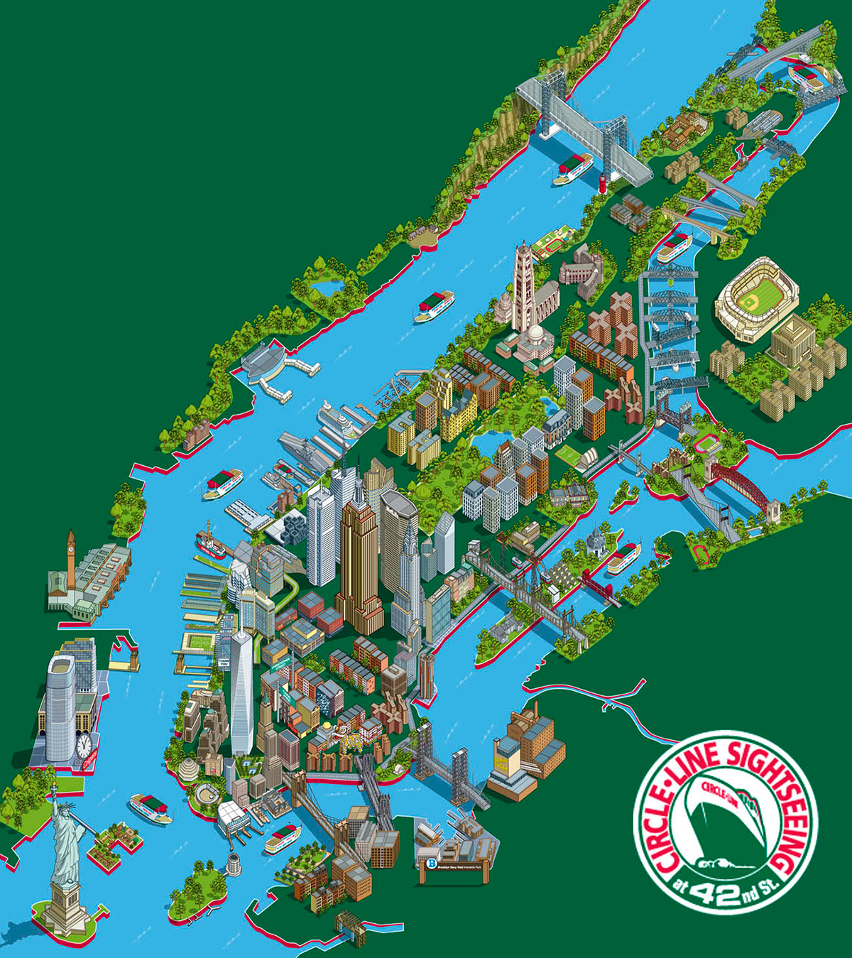 Circle Line 101 New York Sights Illustrated Map on Behance – Tourist Map Nyc