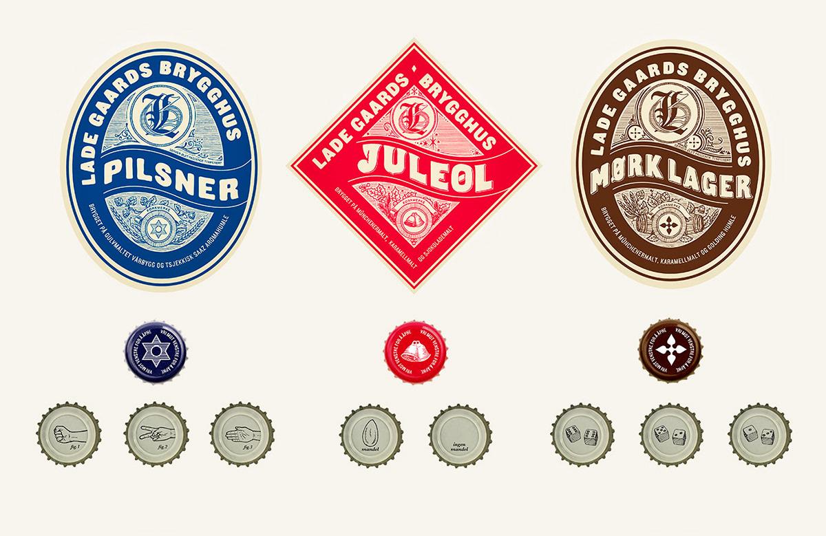 packaging design beer hand drawn bottle Lade Gaards Lade Gaards Brygghus craft beer labels Label