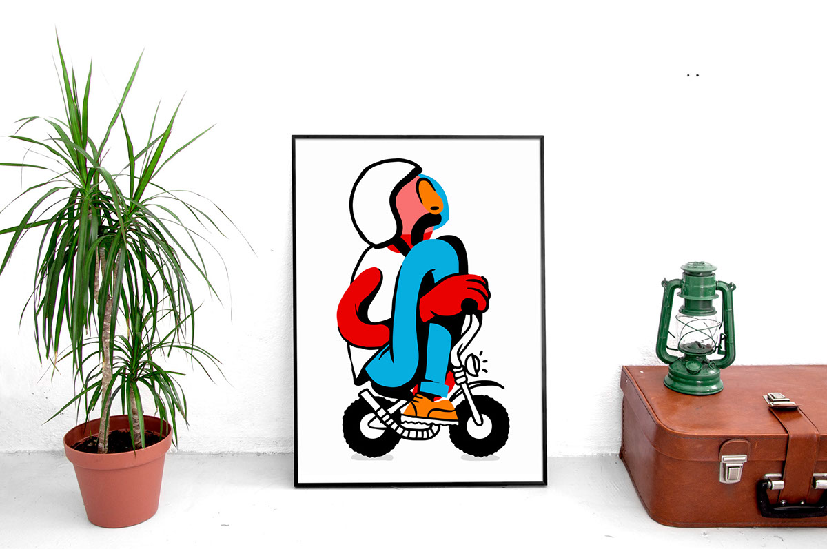 moto Bike biker motorbike moustache colorblock poster print frame harley Custom