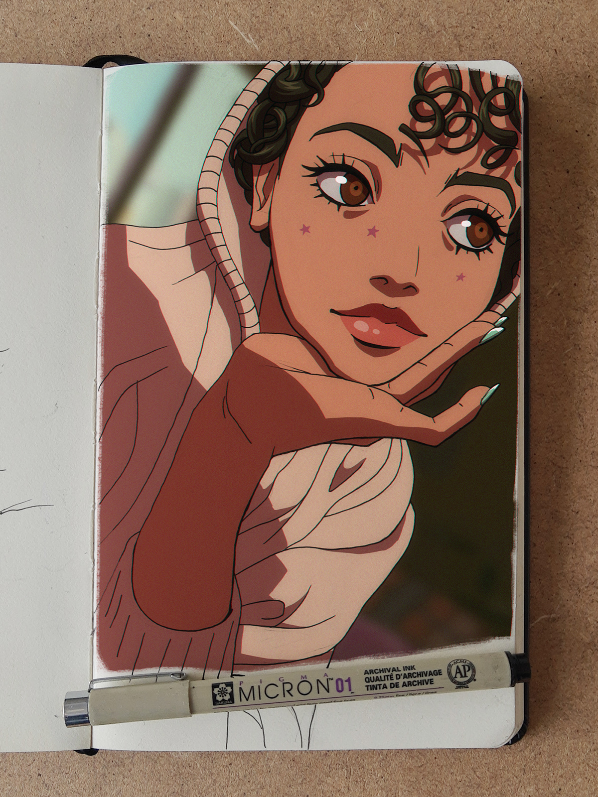 anime curly doodle girl photo portrait Rosalia sketch