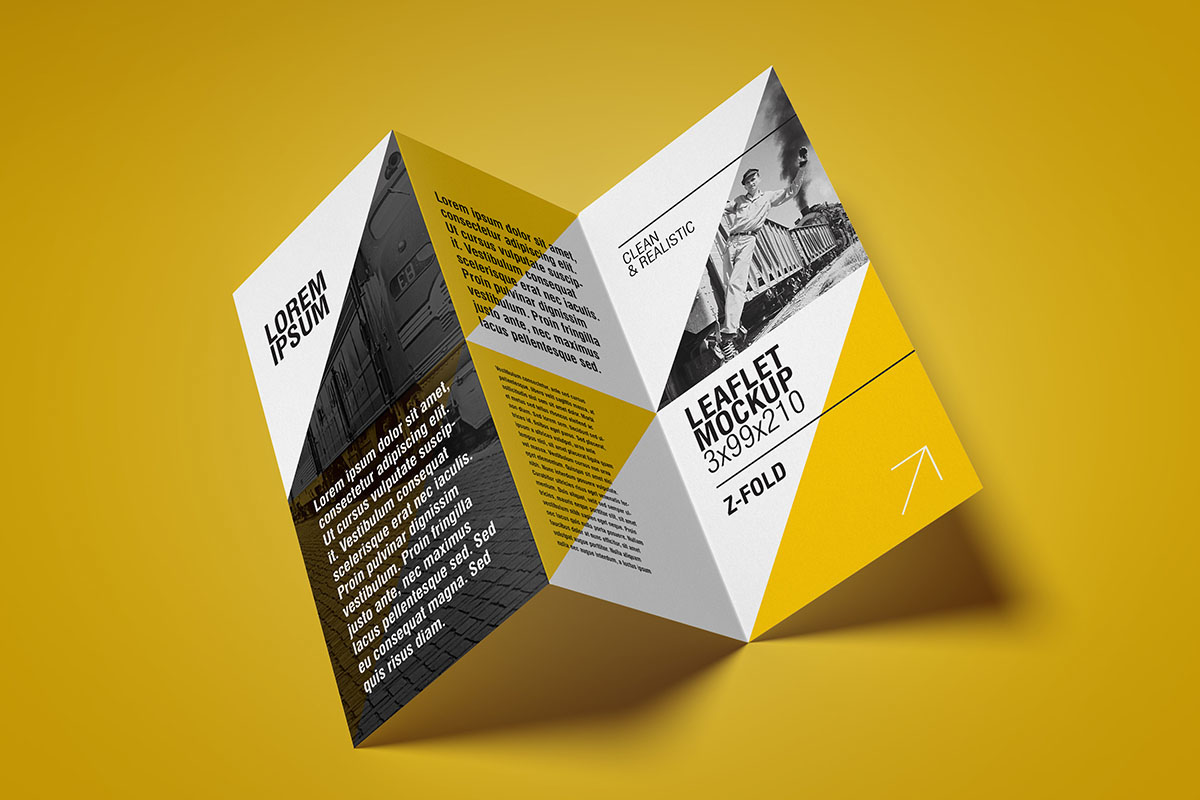 Free Flyer Mockup / Z Fold on Behance