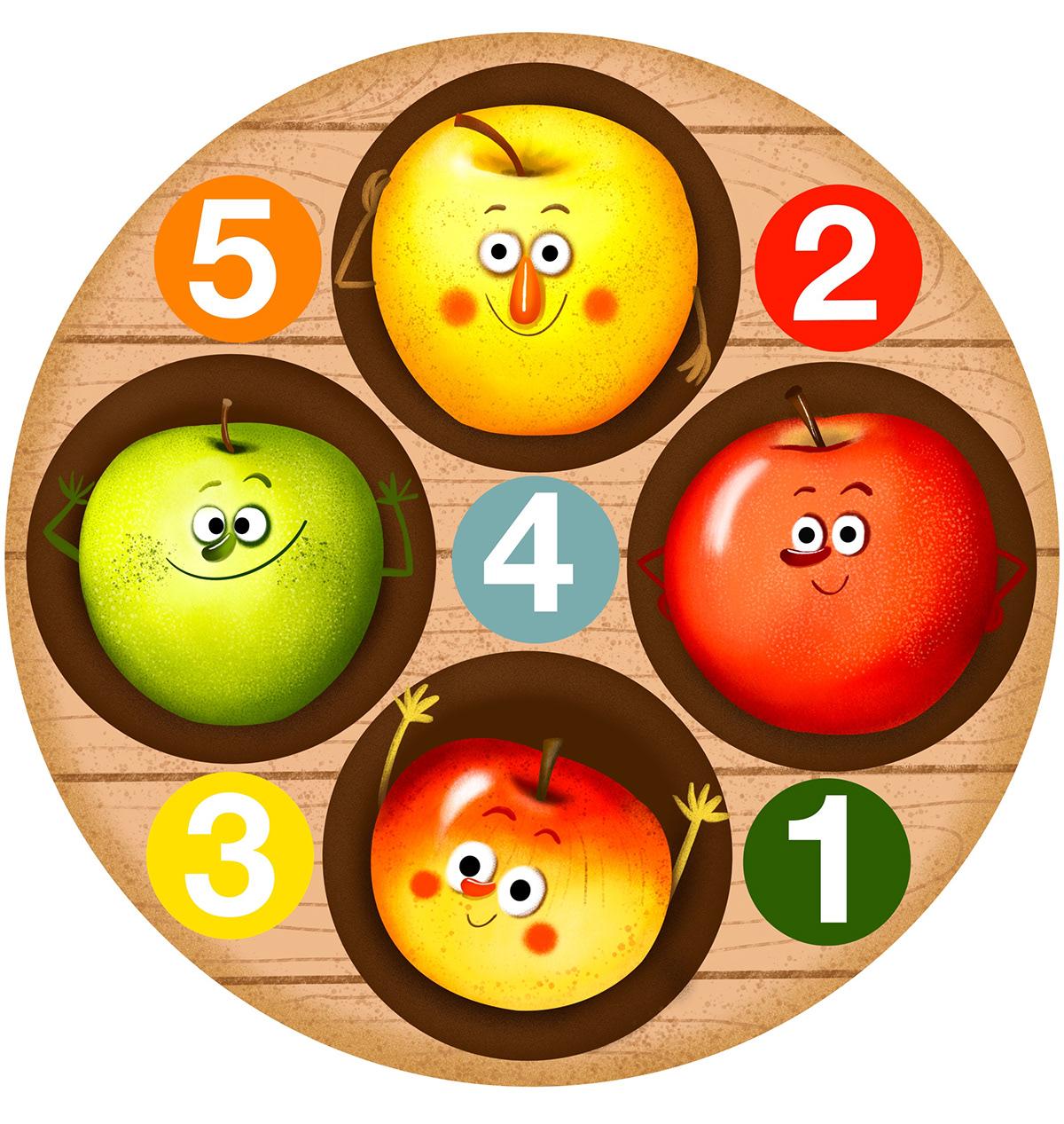 apple autumn Character design  children illustration cute Digital Art  game Procreate