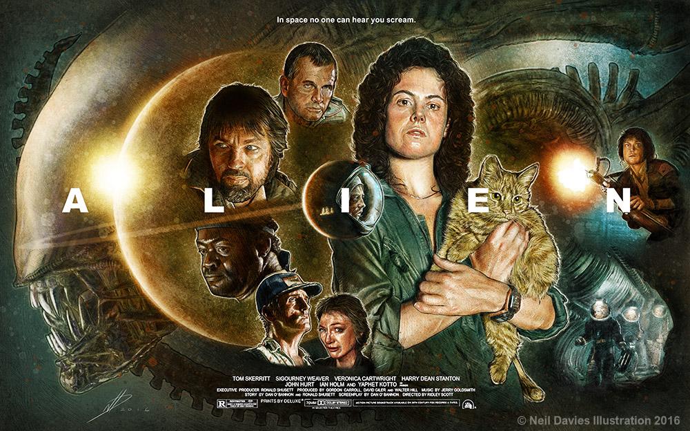 Alien Movie Poster Illustration On Behance