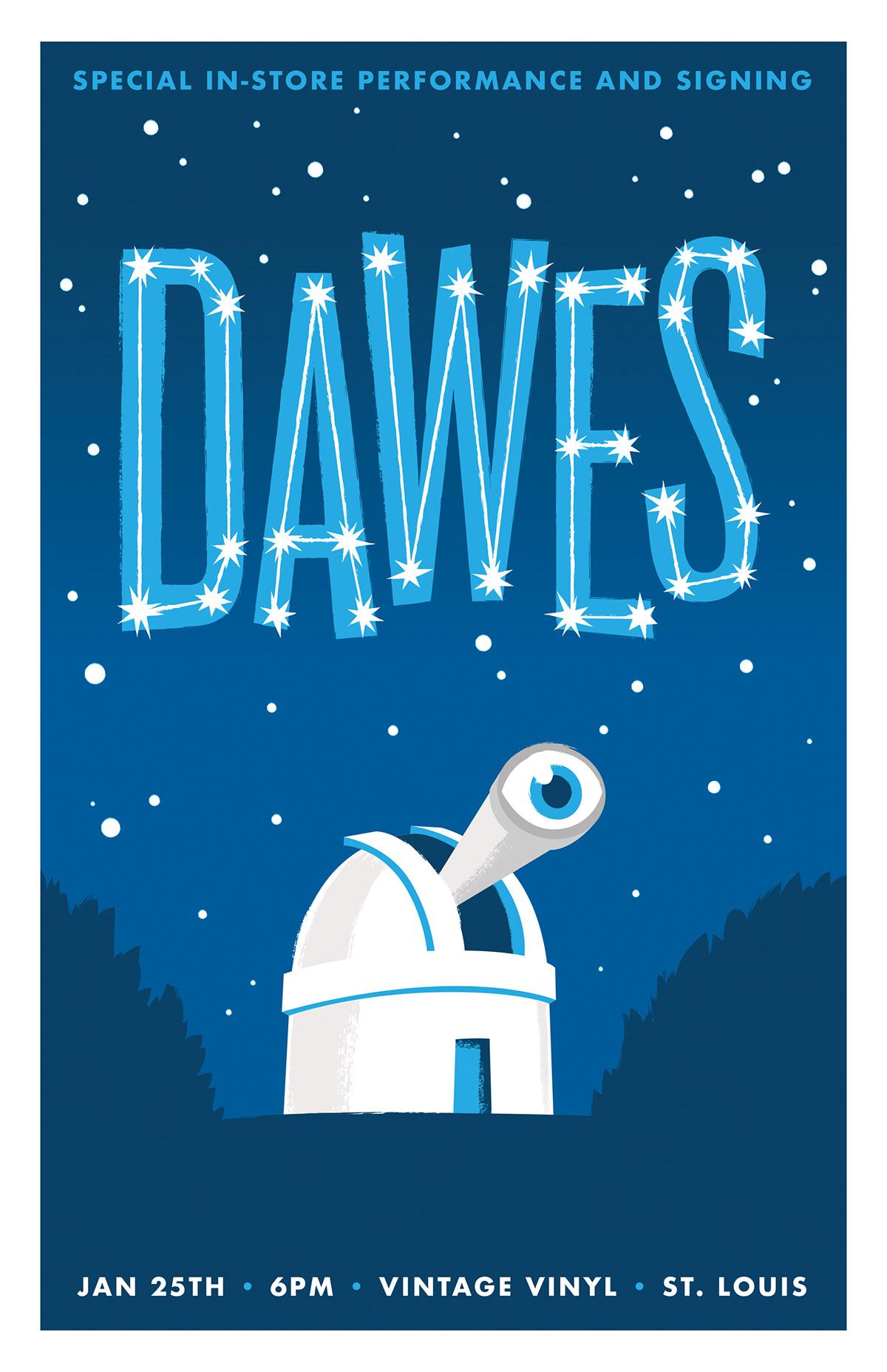 GigPoster Dawes music print Telescope
