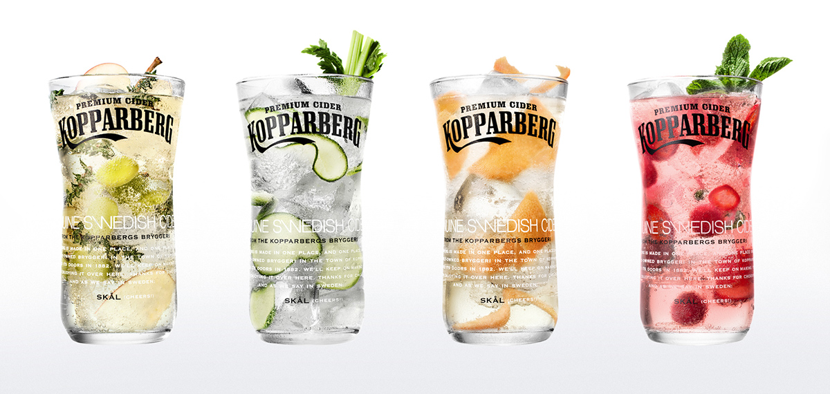 Kopparberg cider premium ice fruits bubble beer glass shooting Photoretouch tasty colours brands