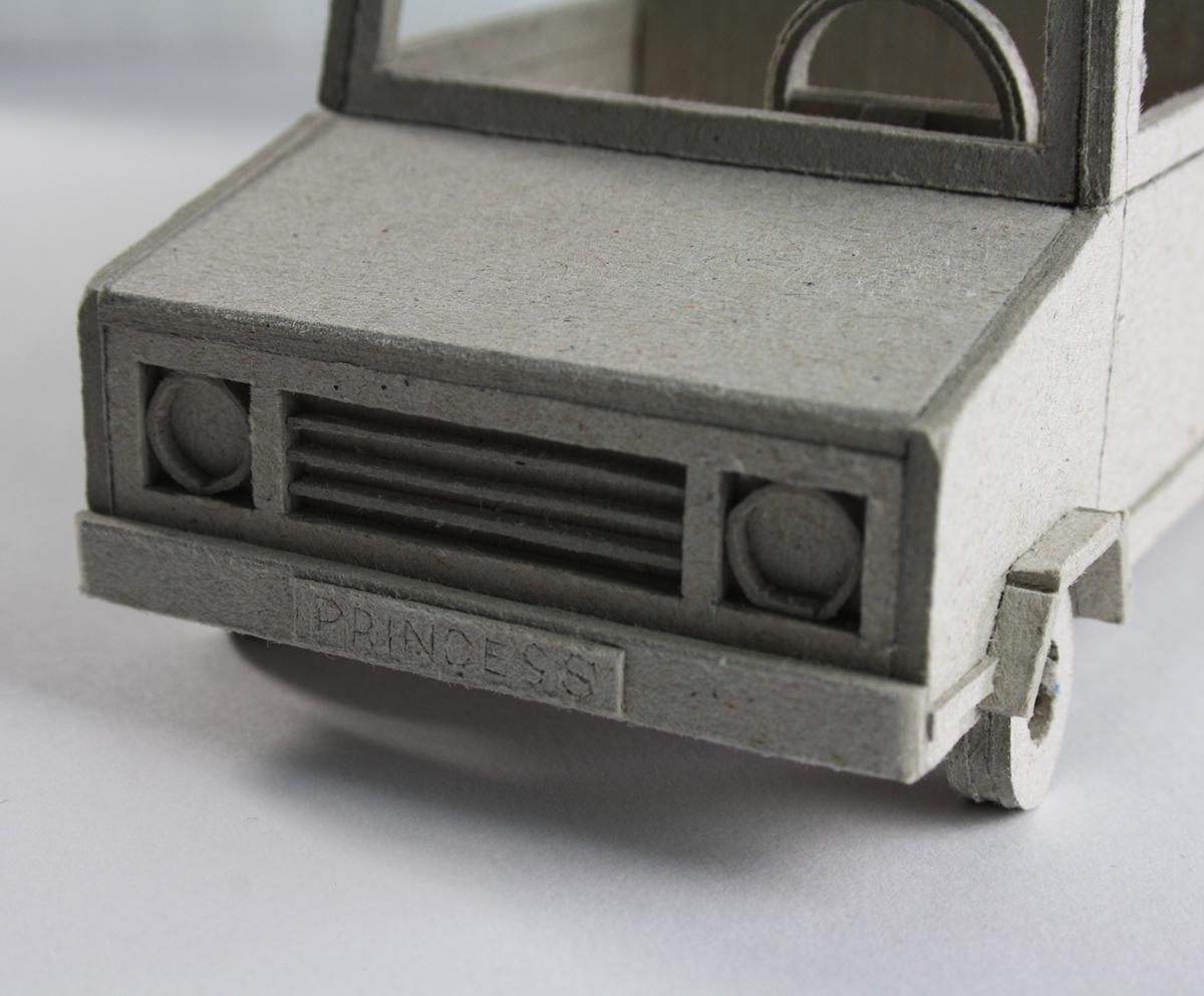 cardboard model grey car Princess LIMOUSINE life in cardboard toy Miniature