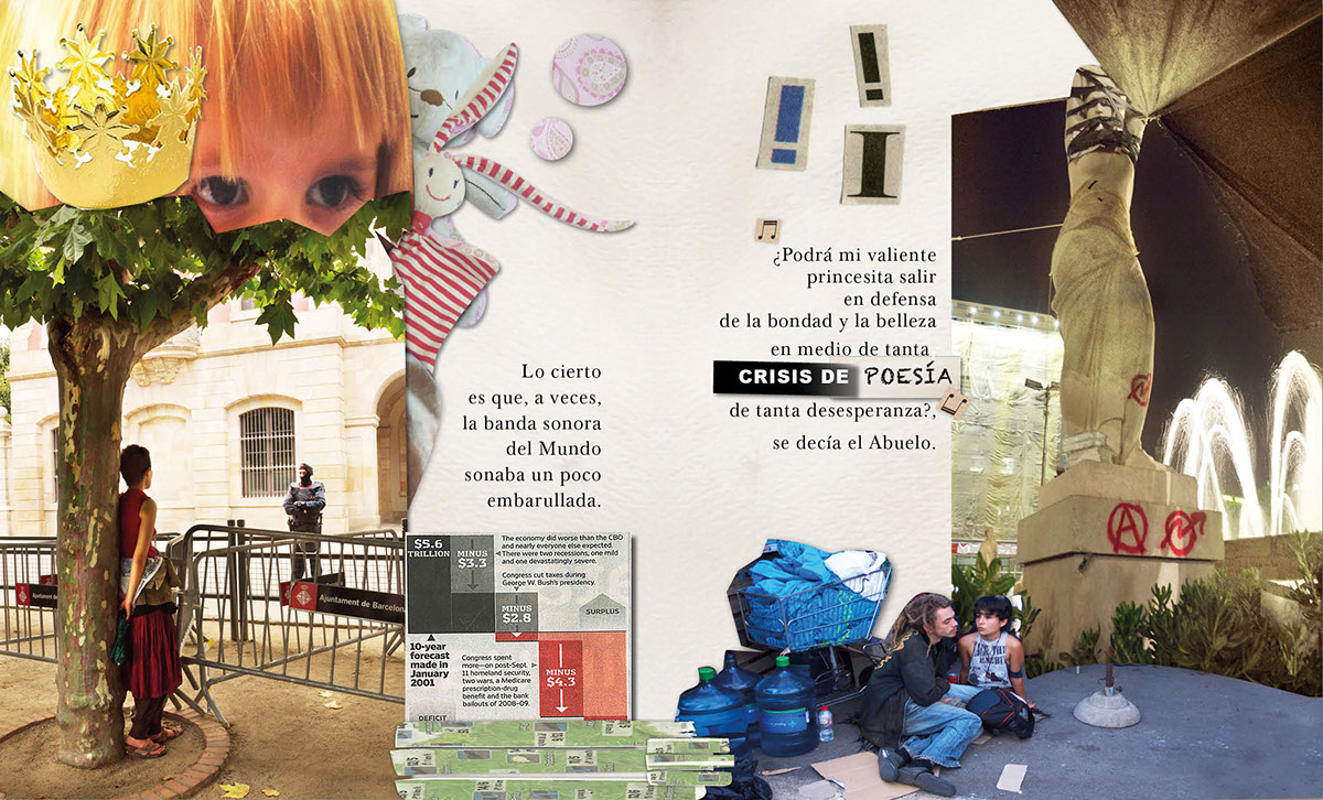 contemporary fairy tales,Documentary ,photo collages,paper collage,money,police,demonstrations,children,Education,consum,children books,niños,kids,social