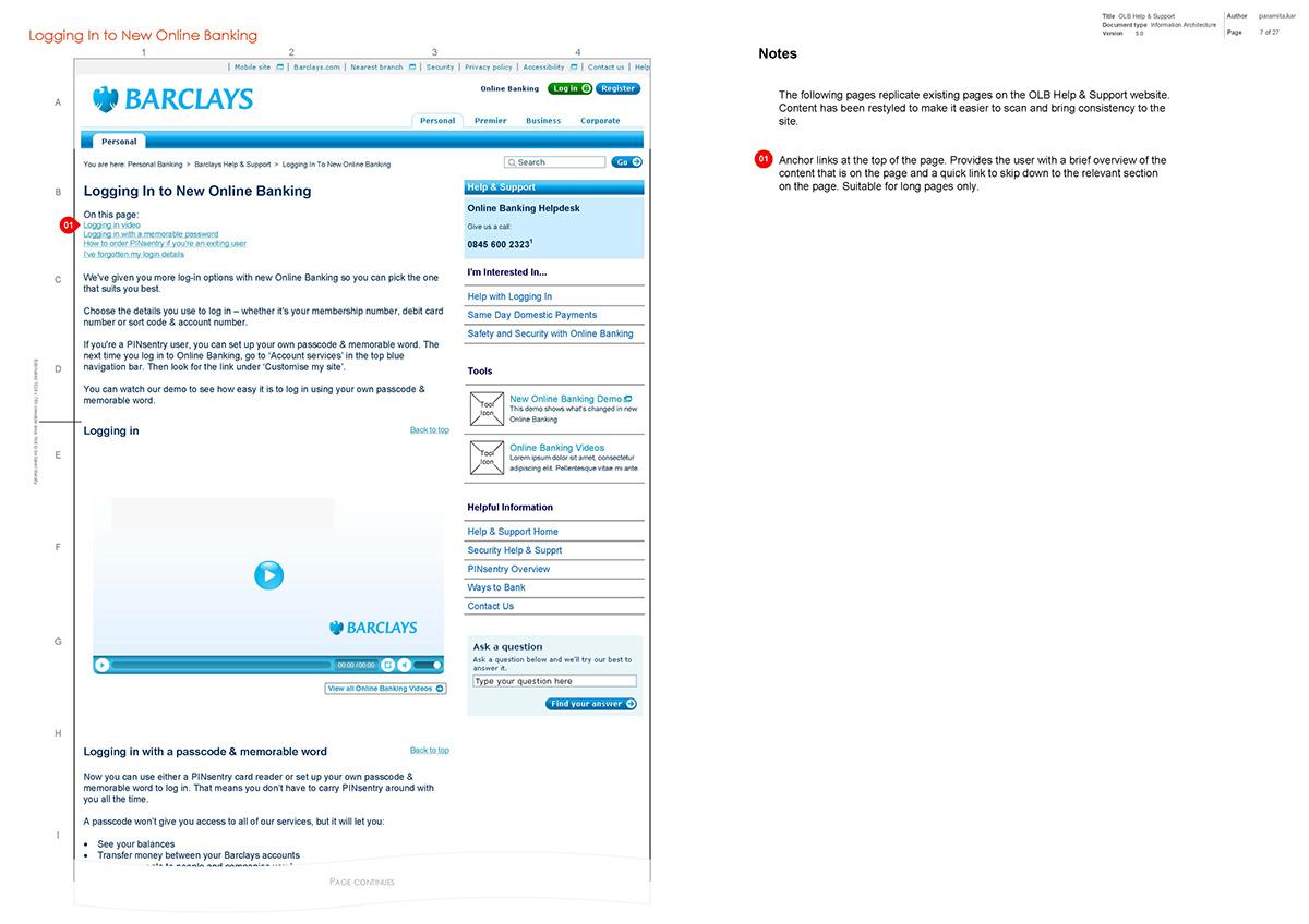 Barclays OLB hub wireframes on Behance