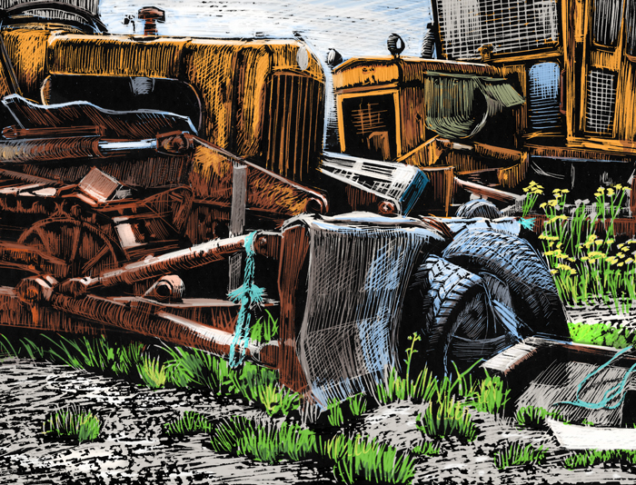 Detail of colour version of bulldozers