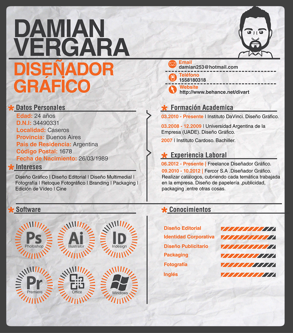 Mi Curriculum Vitae Cv 2014 On Behance