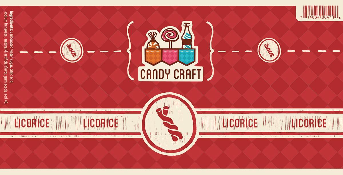Candy Craft logo soda bottle wrapper Candy business card envelope standards manual colorful orange pink blue swirl bag lollipop