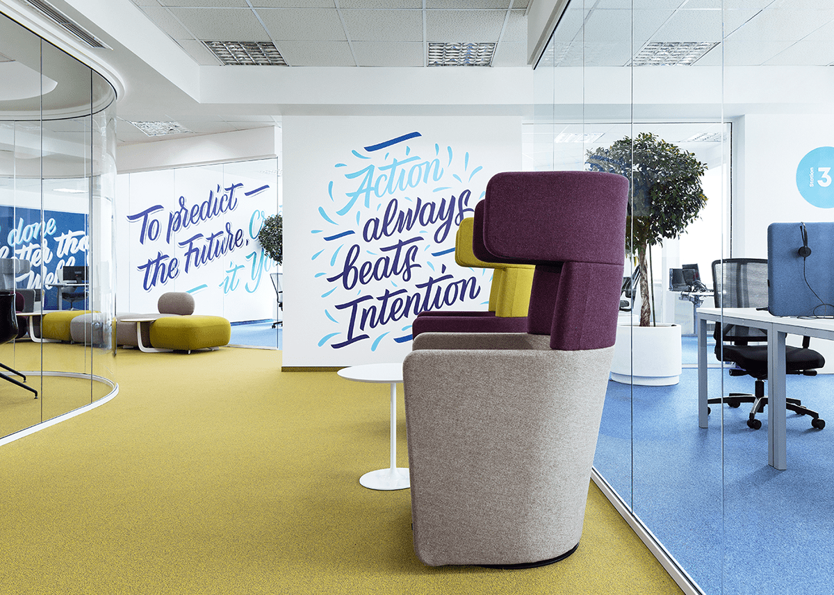 branding  environmental graphics graphic design  HAND LETTERING Murals Office quote typography   typography animation wayfinding signage