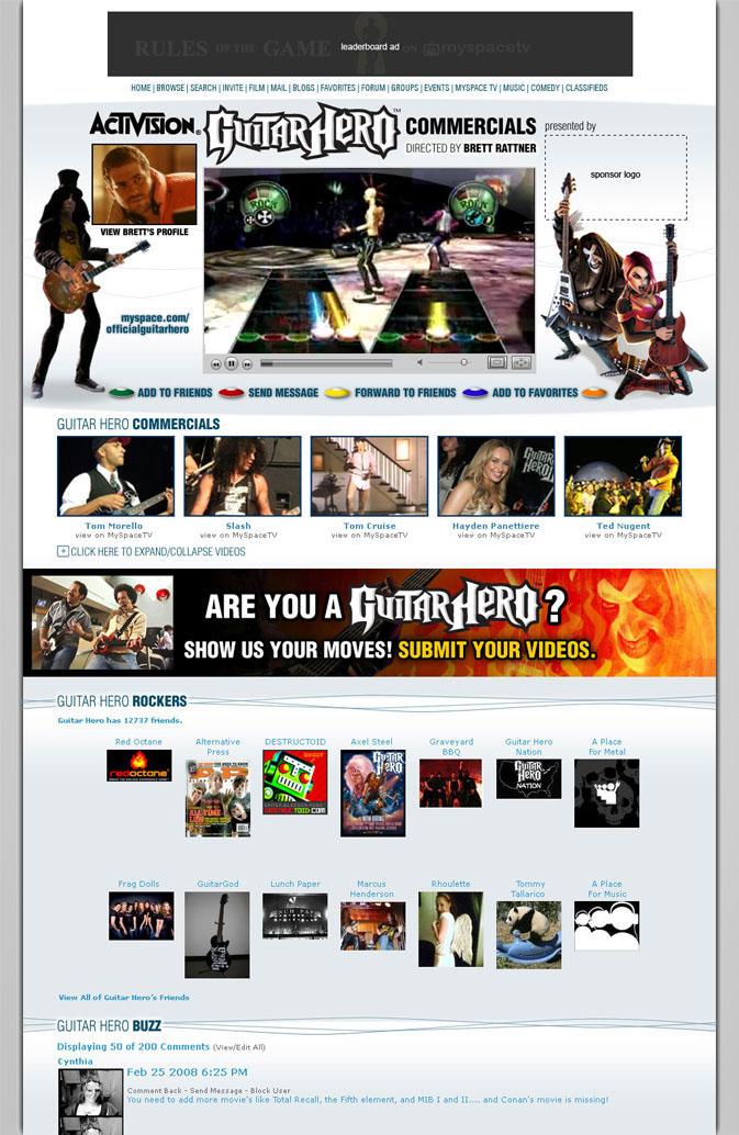 Mockup Advertising  Myspace css HTML wireframe Web Design
