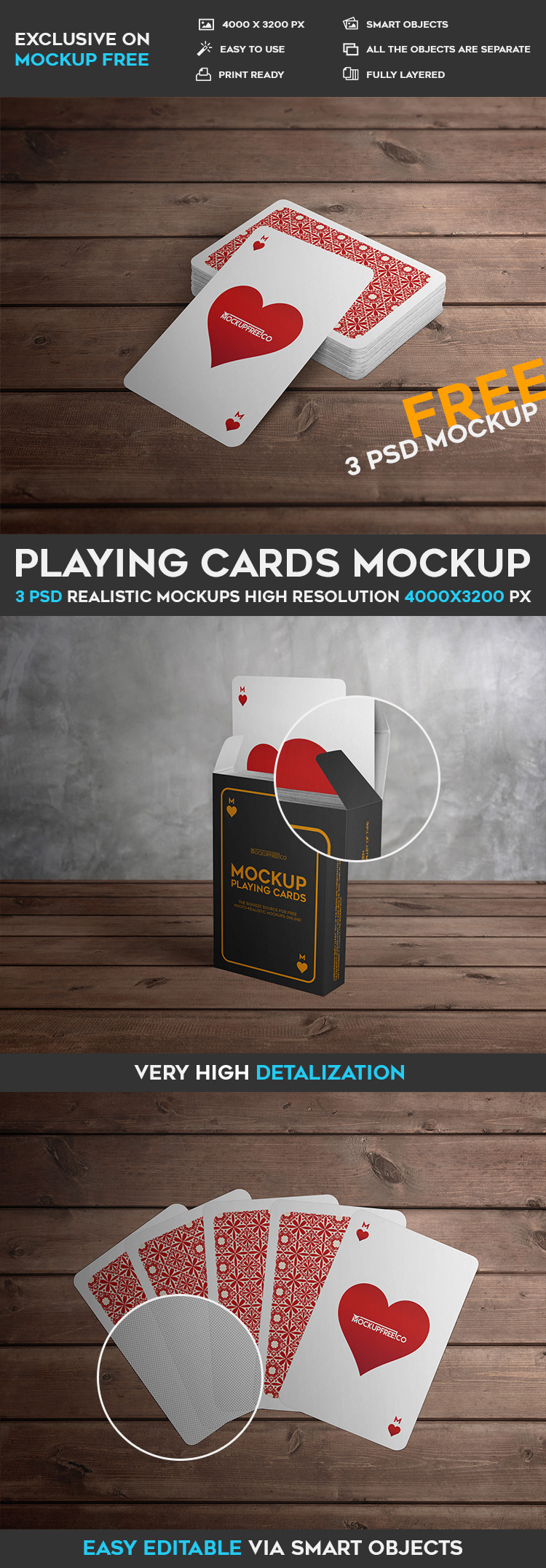 Download For Free These Qualitative 3 PSD Mockups Playing Cards And Make Presentations Promote Your Brands Or Labels Create Branding Identity