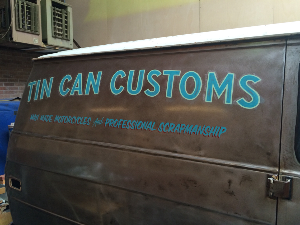 tincancustoms chevyvan handlettered signpainting