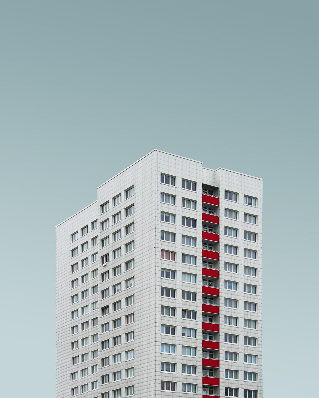minimal architecture skyscraper berlin blue geometry Minimalism building blue sky gradient