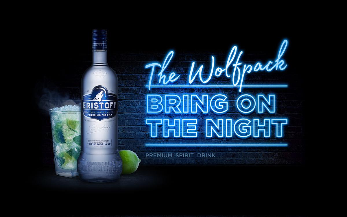 Eristoff Vodka mixer wolf cocktails night light alchol drinks premium
