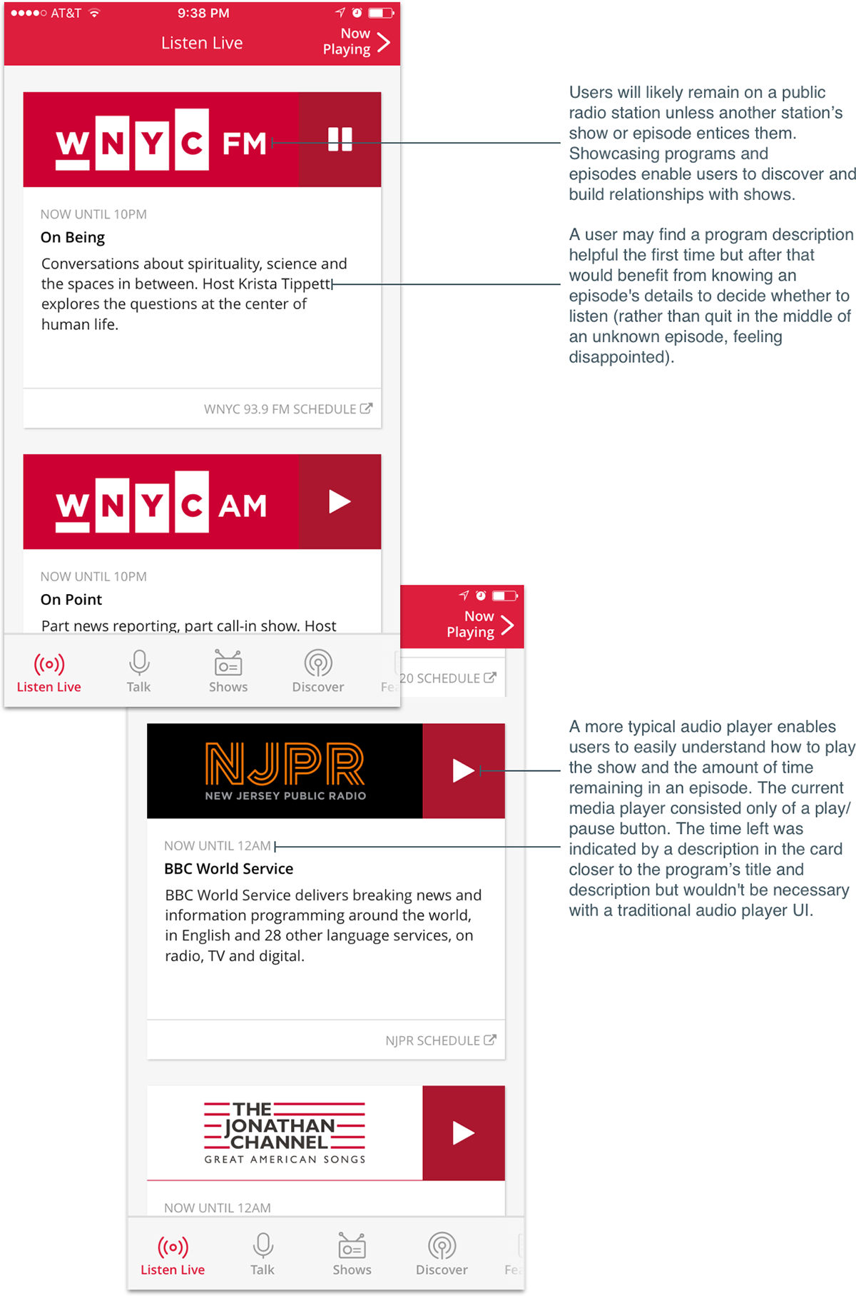 Mobile app ios Radio ux/ui product design  nyc whiteboard