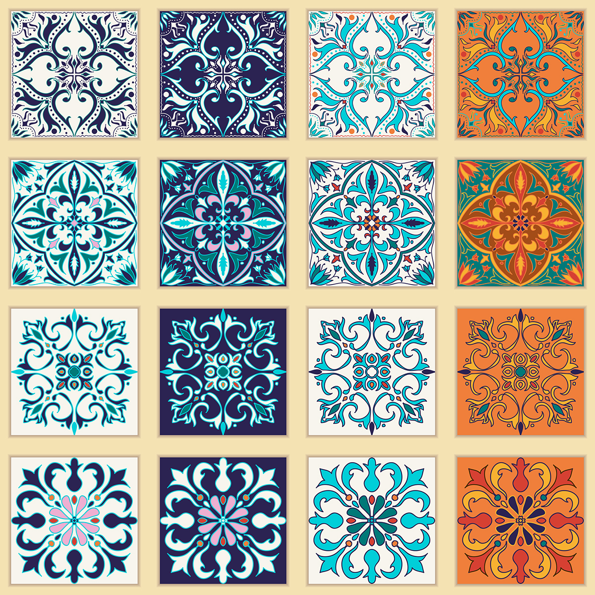 Portuguese tiles and patchwork patterns on behance Different design and colors of tiles