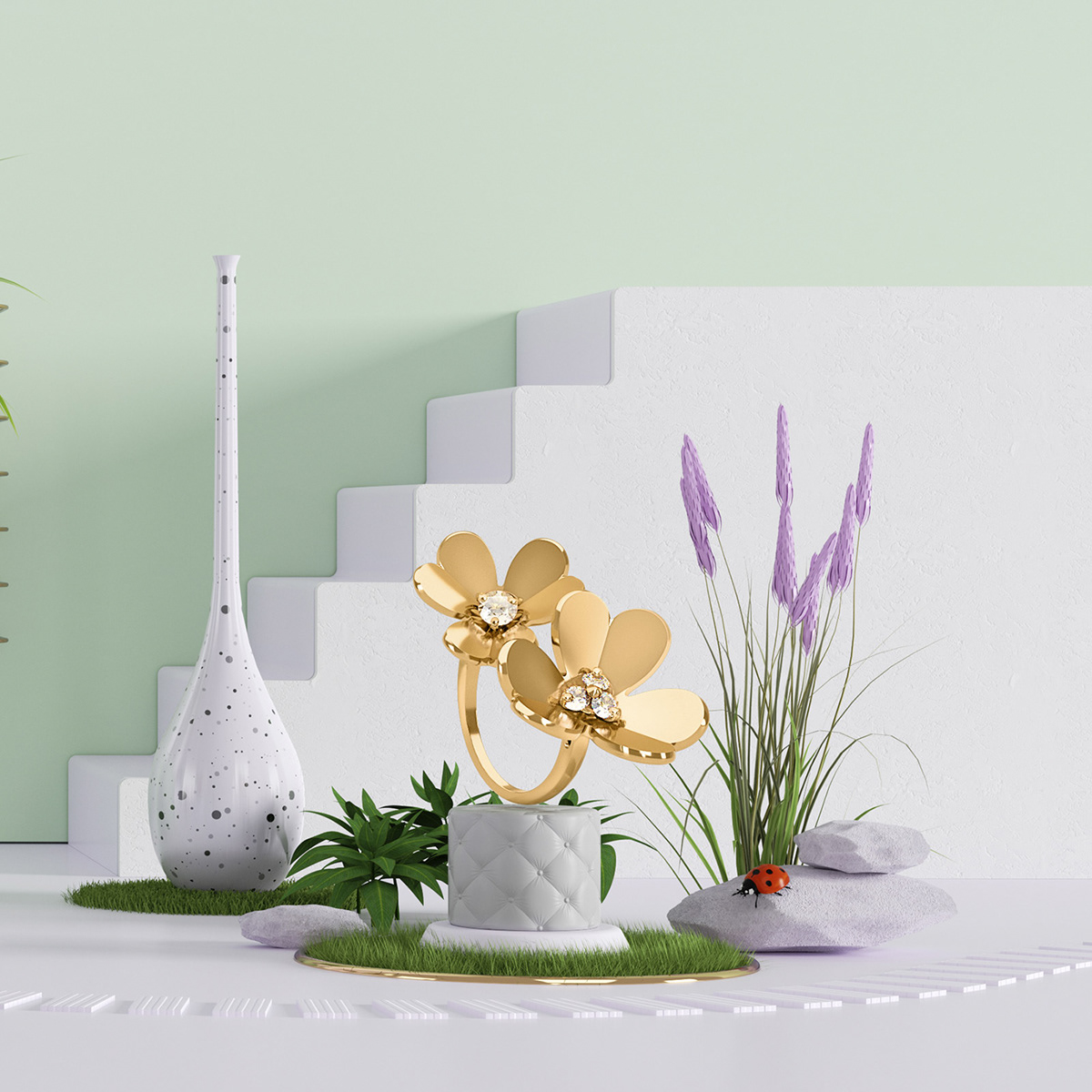 vancleef&arpels jewel art 3D ArtDirection cinema4d c4d Interior color set design