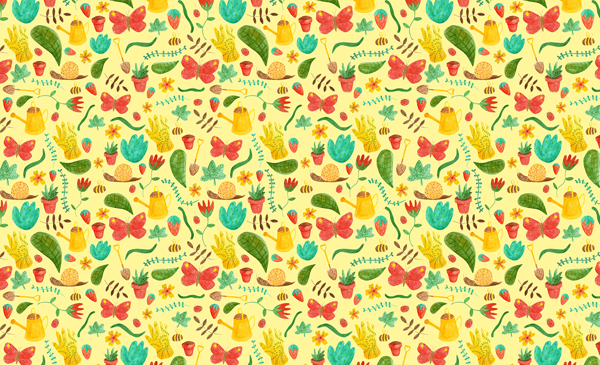 pattern design  Nature garden summer Illustrated pattern yellow Insects Flowers plants product mockup