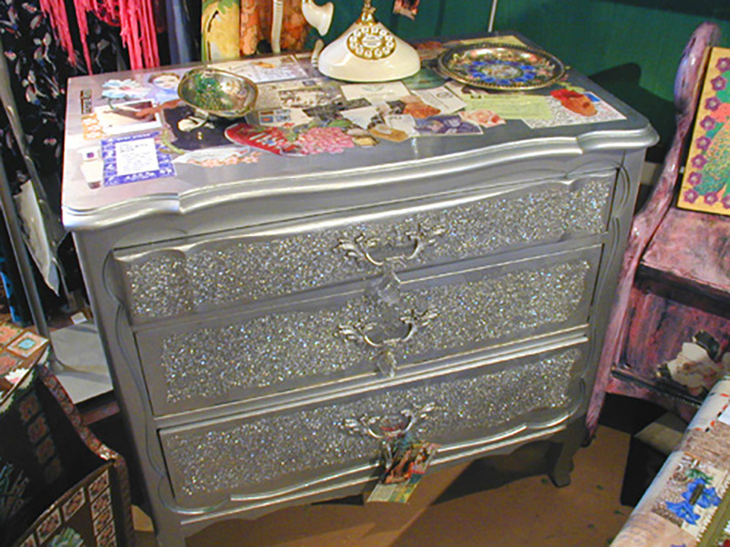 Decoupaged vintage dresser... silver paint 8664d6907