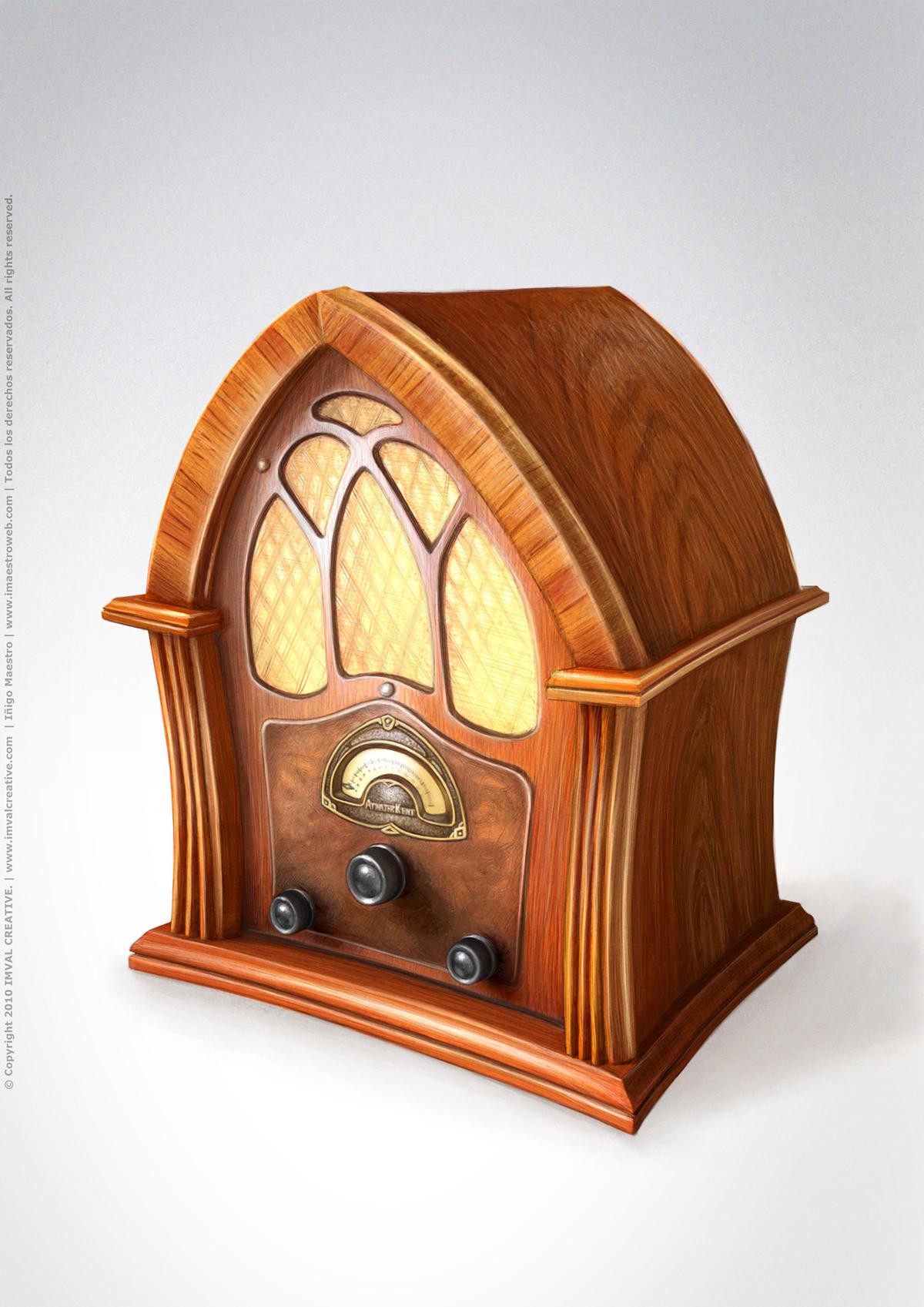 cartoon concept prop vintage phone television tv Computer Telegraph Radio ATWATER KENT  old Tic ict
