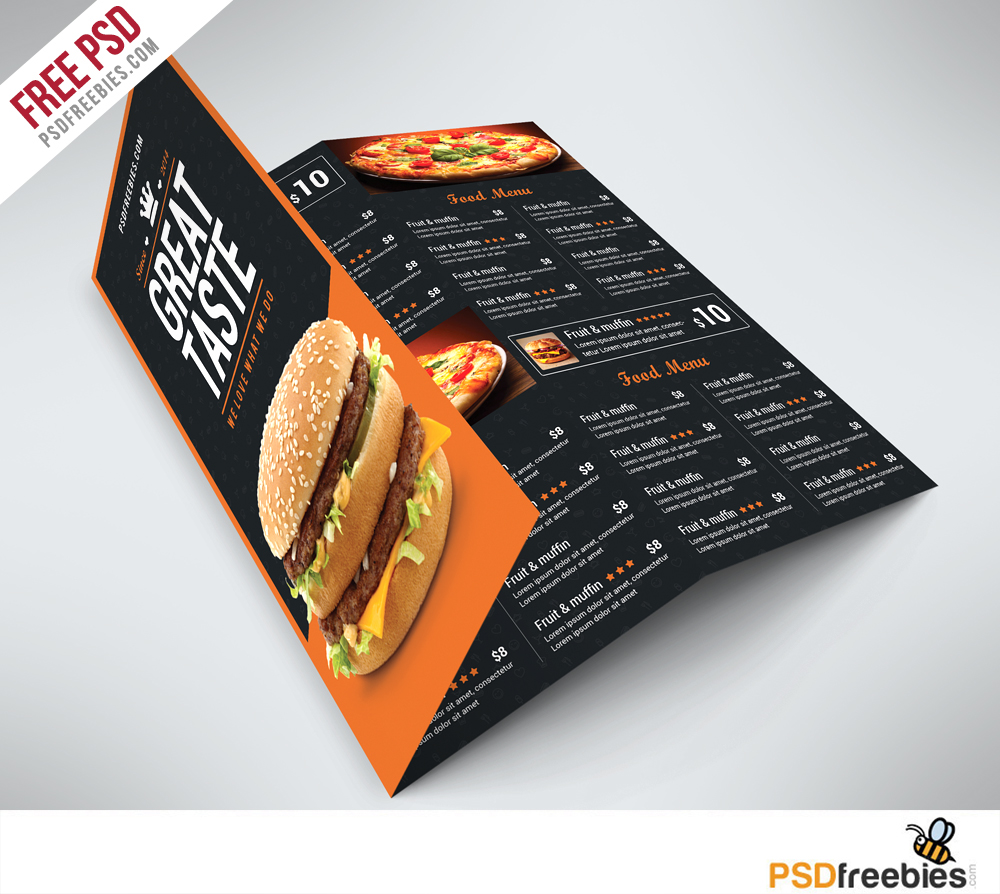 freebie fast food menu trifold brochure free psd on behance