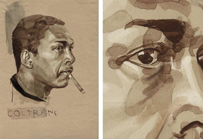 portraits watercolor pencil