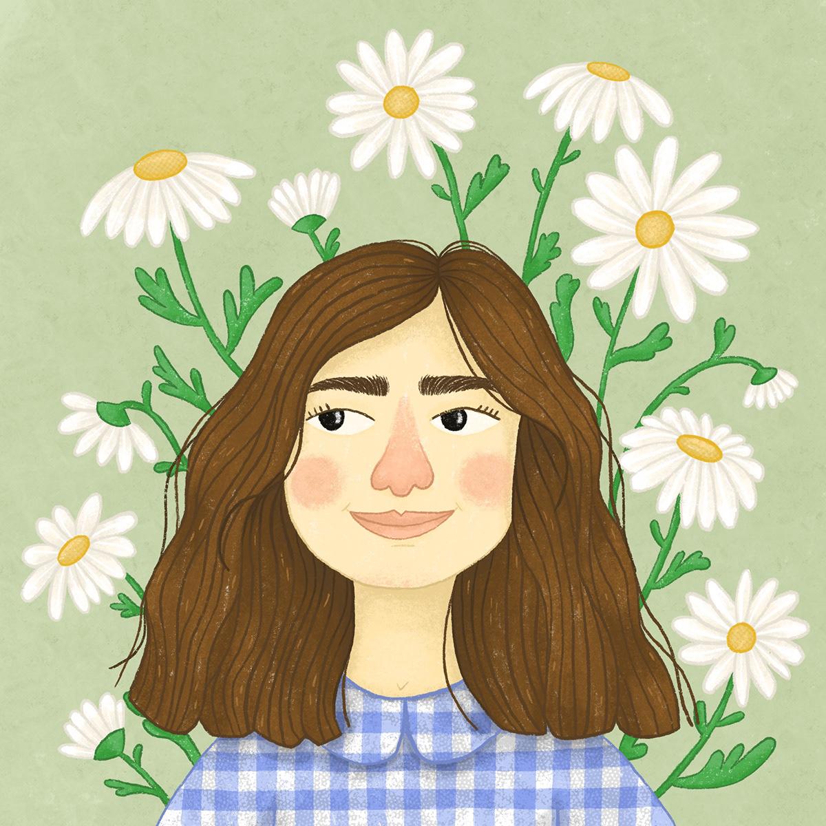 avatar cute Flowers girl ILLUSTRATION  Nature plants portrait self portrait