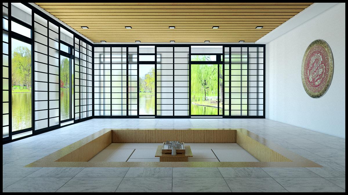 Architectural visualisation chinese tea room on behance for Tea room design quarter