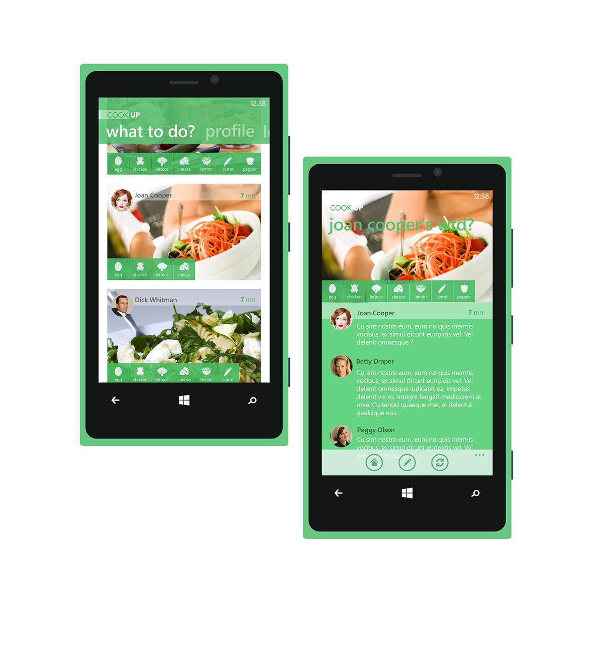 user interface design User Experience Design visual design recipe app windows phone app