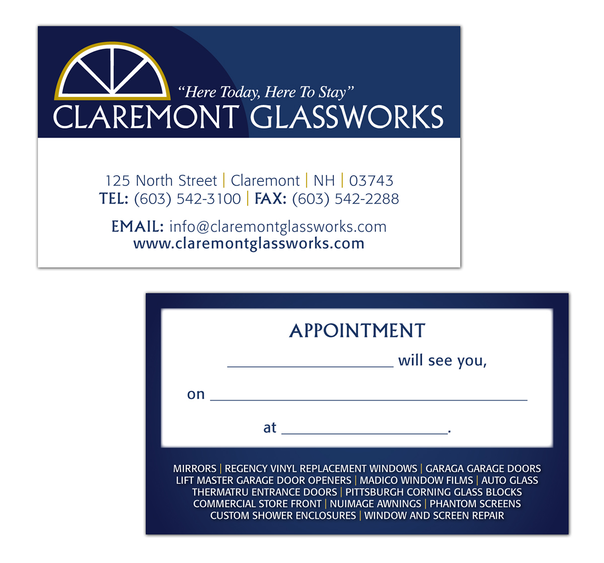 Claremont Glassworks Business Cards on Behance