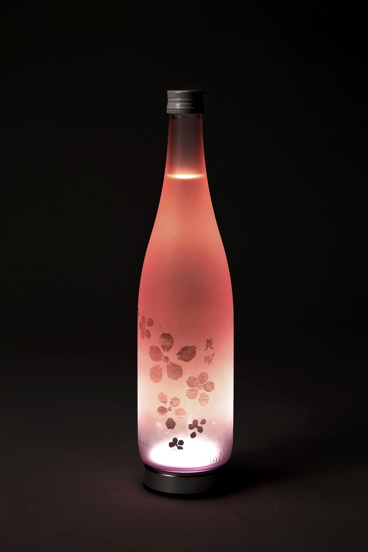 Sake packagingdesign bottle junmaiginjo wine design pinkbottle pink frosted frostedbottle