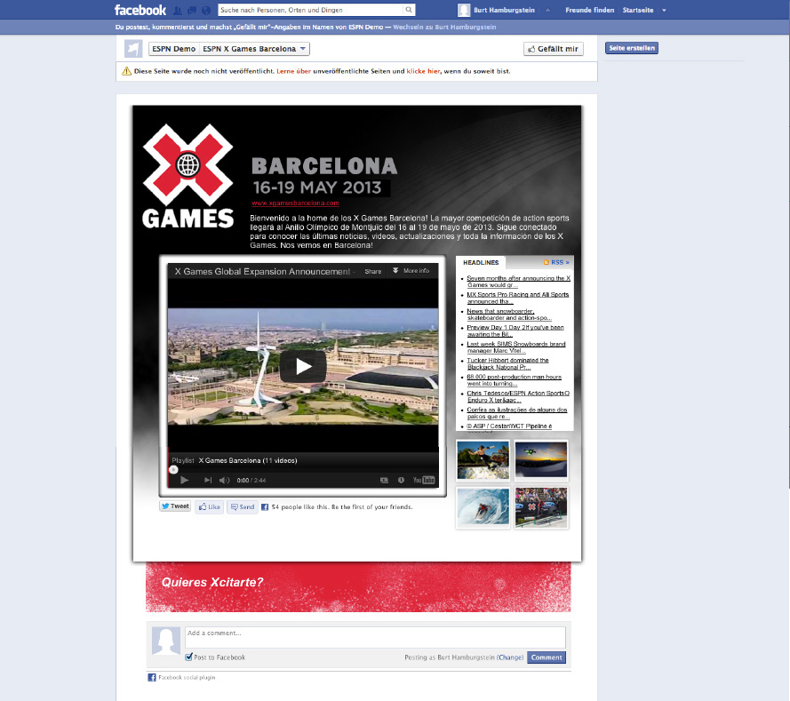 ESPN X Games 2013 Facebook Audience Apps on Behance