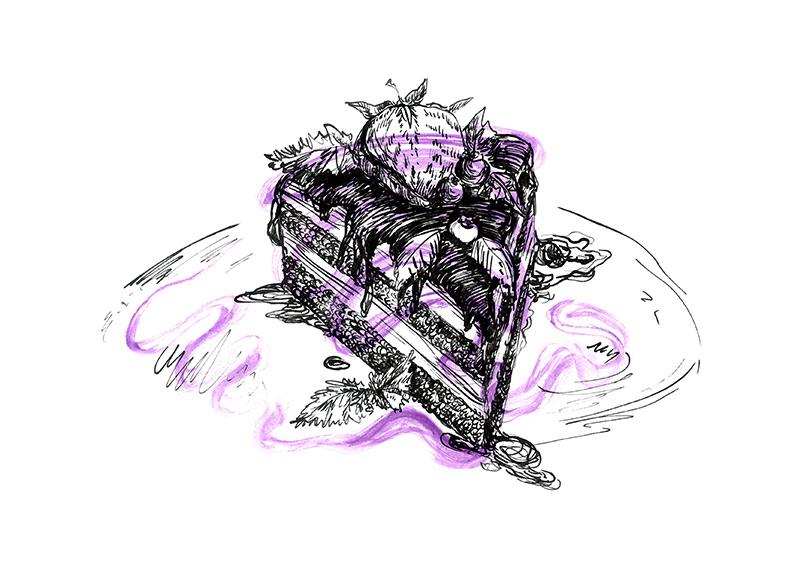 ink artwork cake purple Food  berry Drawing  stroke ILLUSTRATION  watercolor