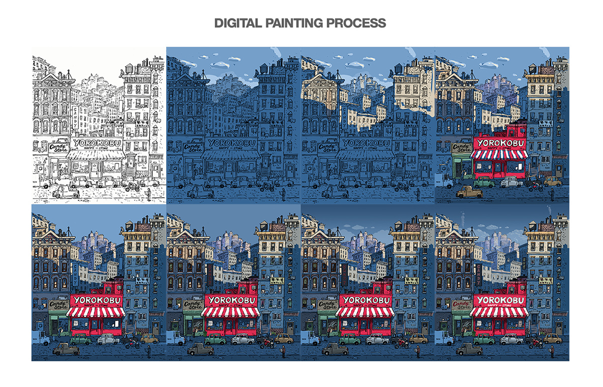 Portada cover Back Cover contraportada yorokobu gatotonto city digital painting photoshop wacom Pentel