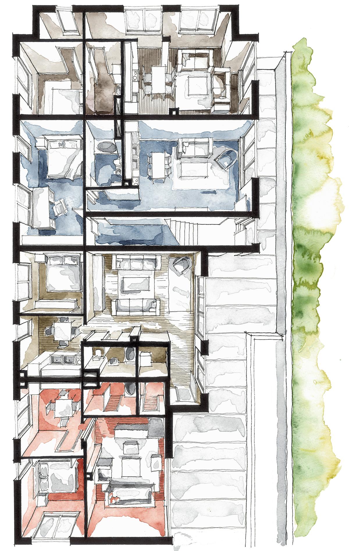 Real Estate Watercolor 3d Floor Plan Ii On Behance