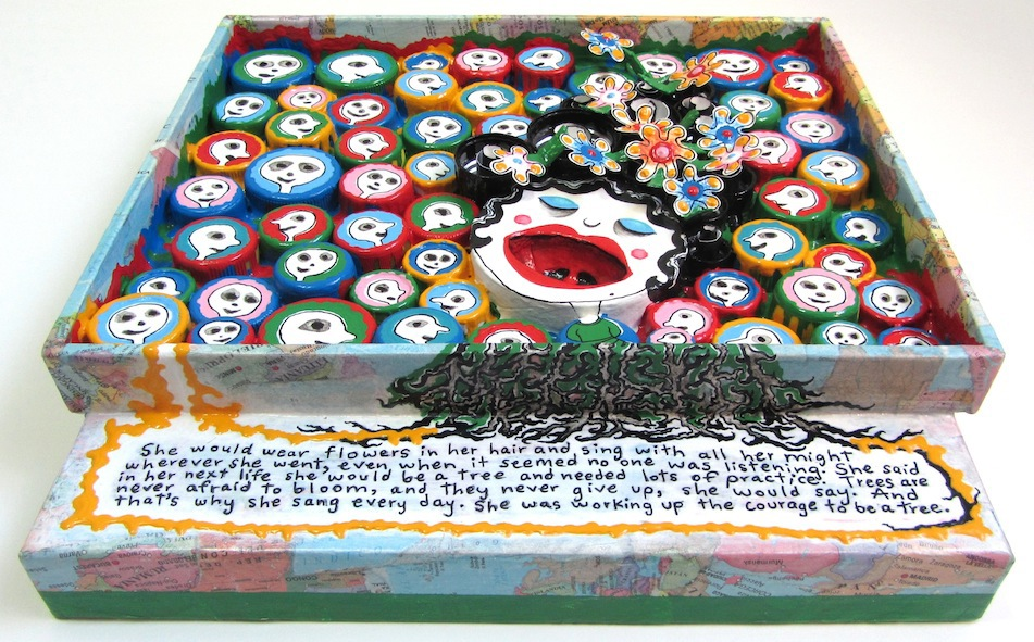 recycled materials mixed media acrylic hand-painted Bottle Caps narrative courage Tree  alex mitchell twinki-winki