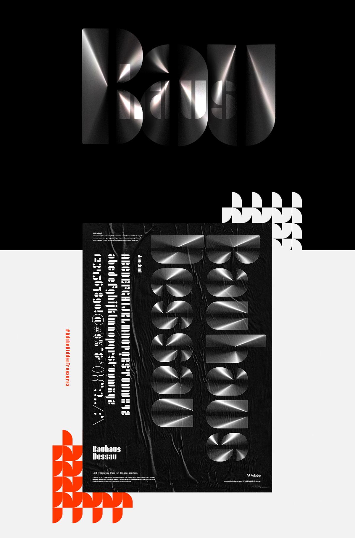 poster,AdobeHiddenTreasures,Bauhaus Dessau,adobe,fonts,Joschmi,minimal,Black&white