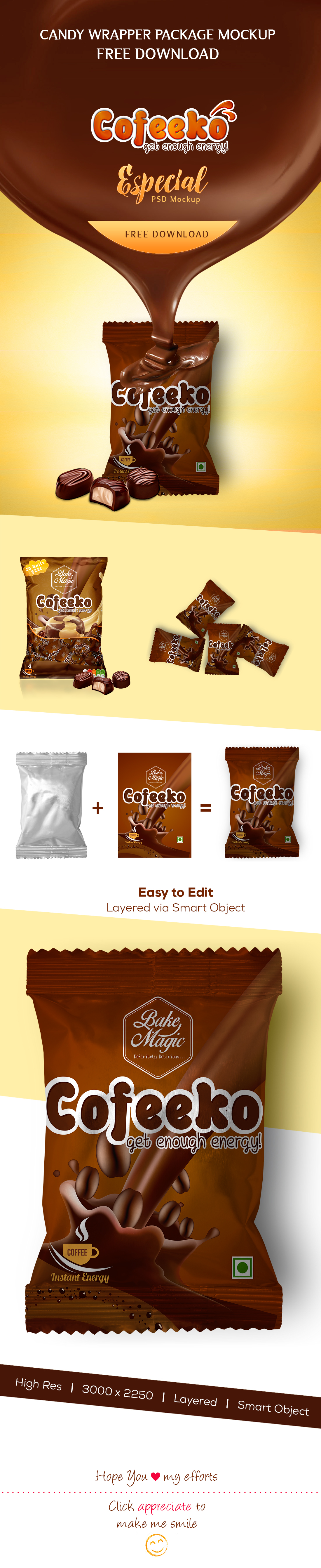 candy wrapper package mock up free download on behance