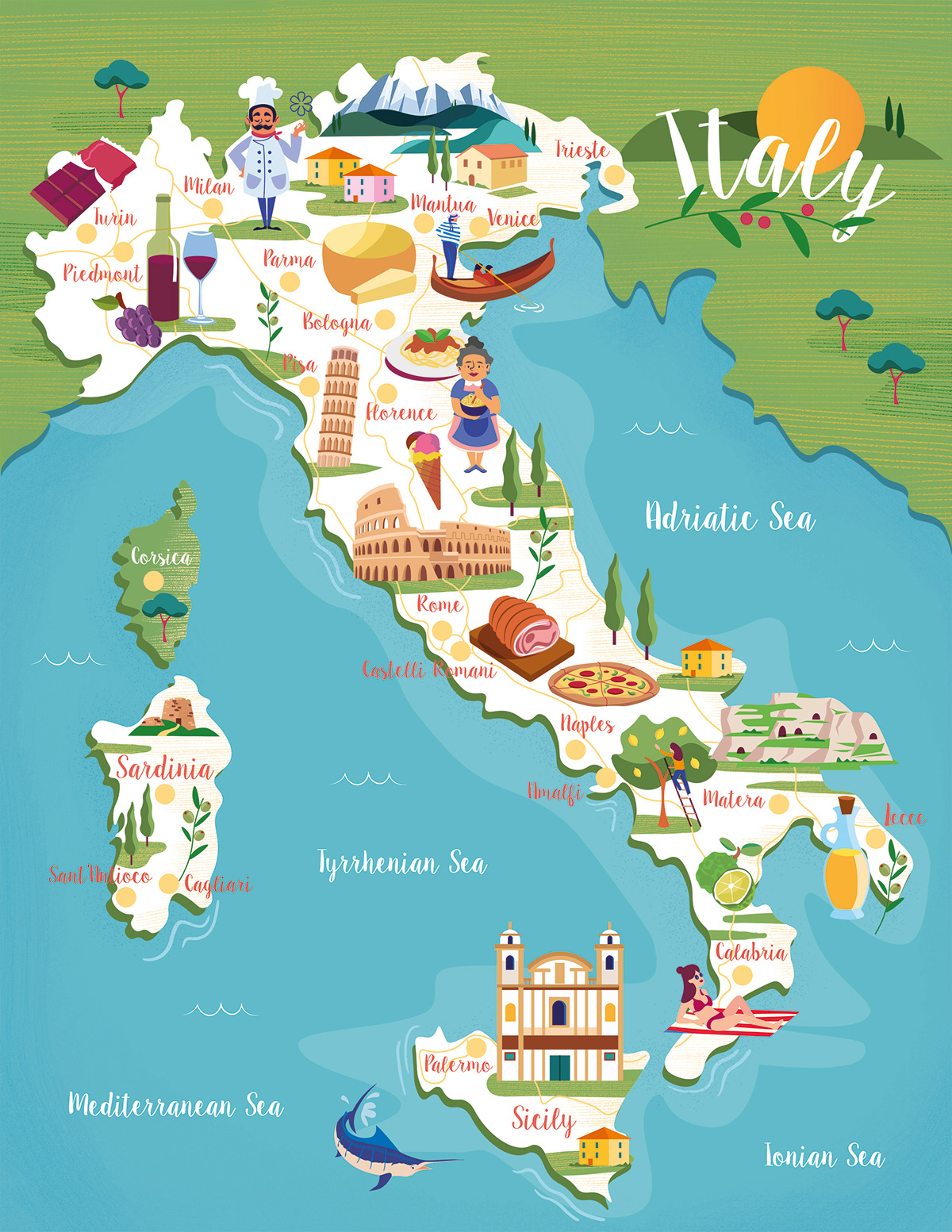 Food And Travel Magazine Italy Map On Behance