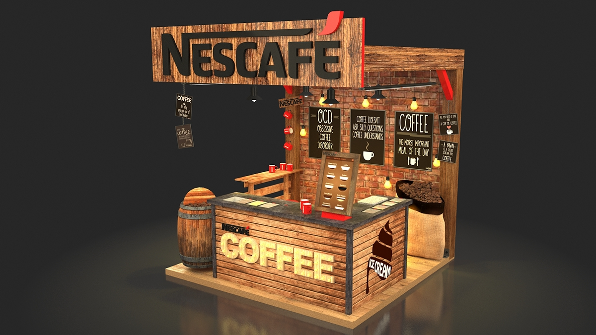Exhibition Stand Kiosk : Nescafe coffee booth on behance