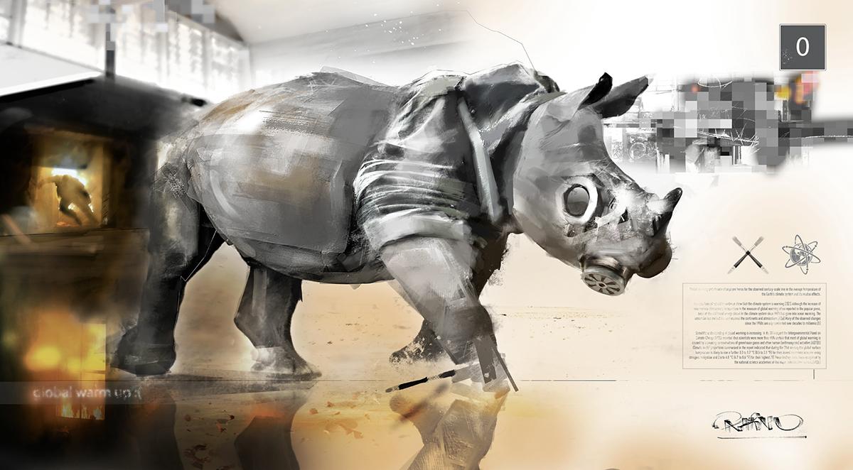 Rhino brush fire gas mask Warning global warm up wacom