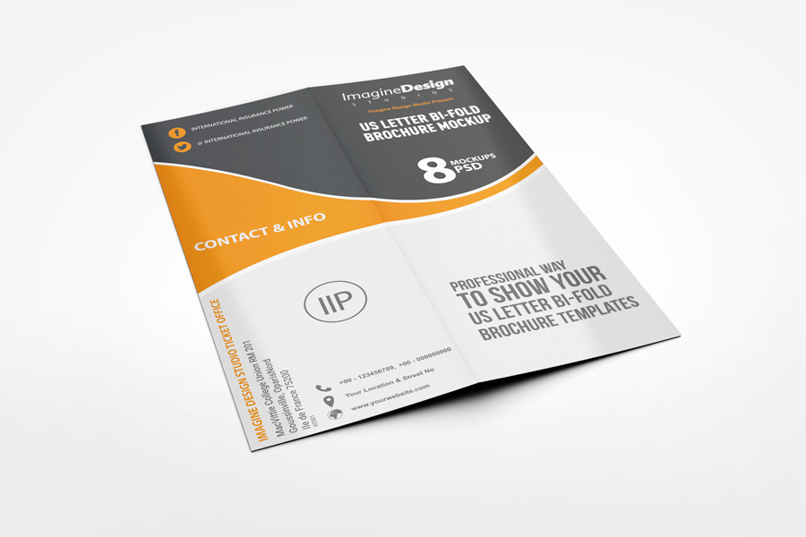 us letter half fold brochure mockup on behance