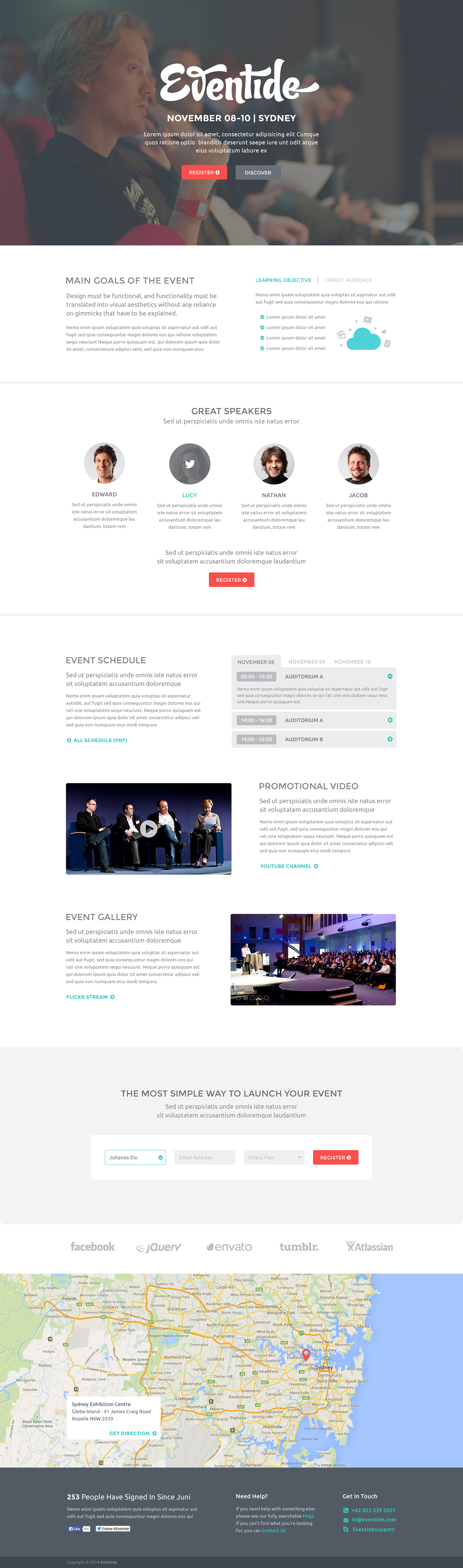 Eventide psd landing page free template on behance eventide is a clean and modern psd template designed for any events or conferences the main purpose of this template is to make users easy to use the pronofoot35fo Choice Image