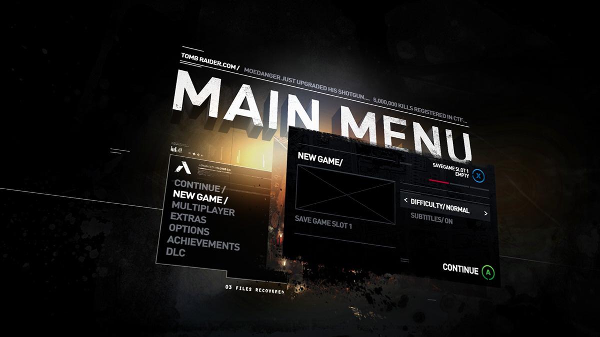 TOMBRAIDERUI IDENTITY DESIGN On Behance - Game menu design