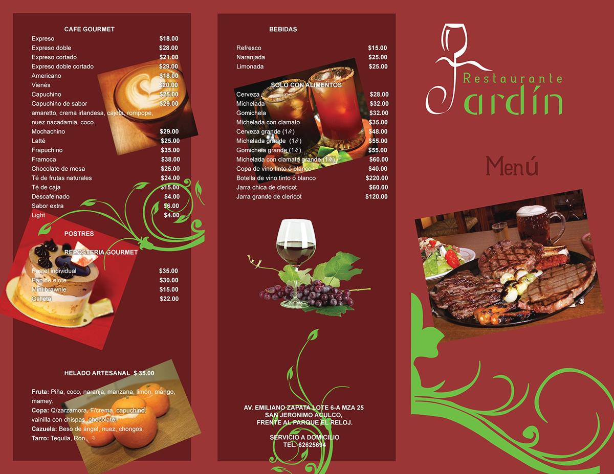 Dise o de men para restaurante jard n on behance for Disenos de menus para restaurantes