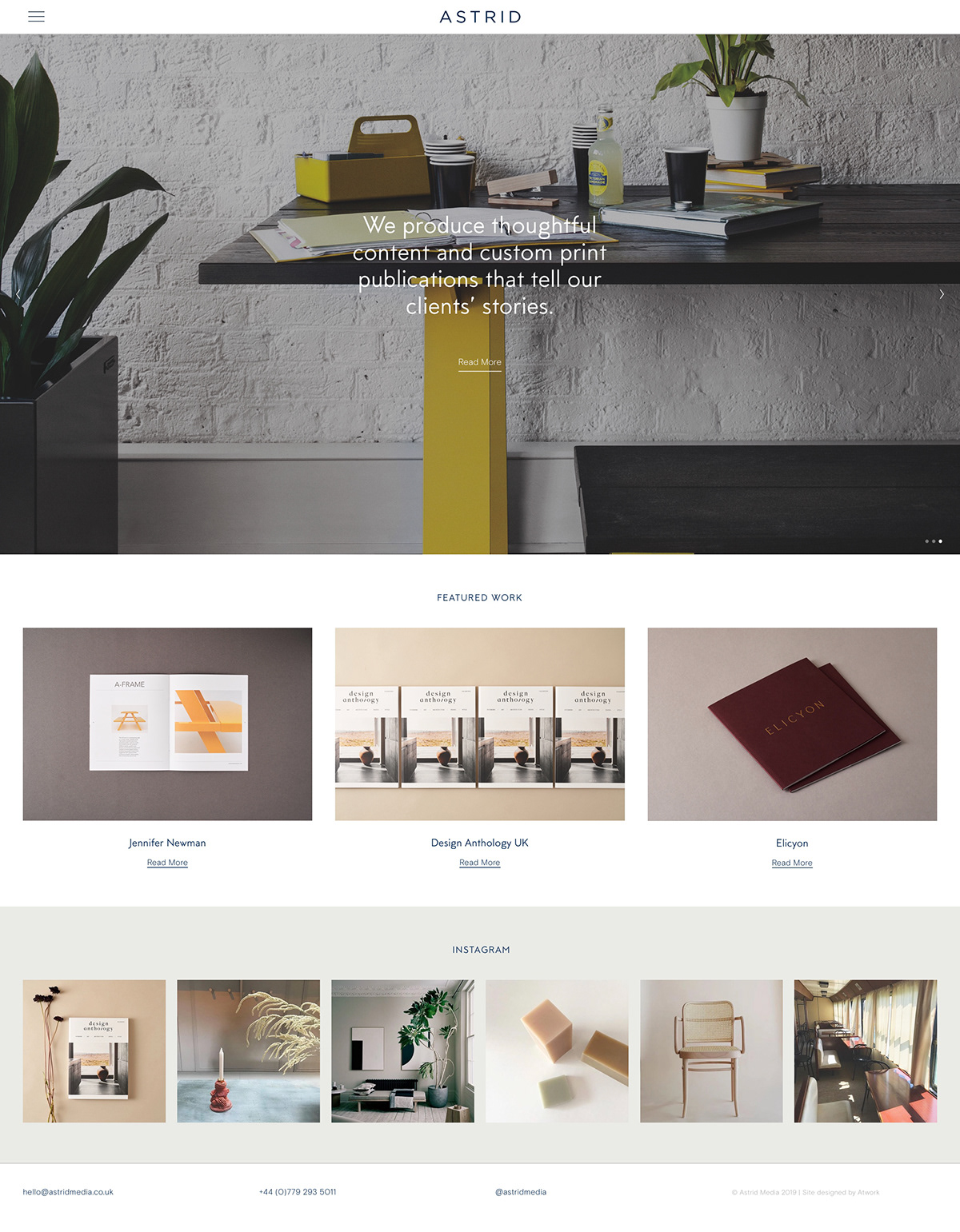 Astrid Media atwork squarespace design creative agency grid based Website The Printer's Son
